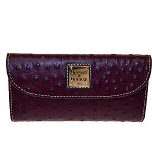 DOONEY AND BOURKE BURGUNDY OSTRICH leather wallet
